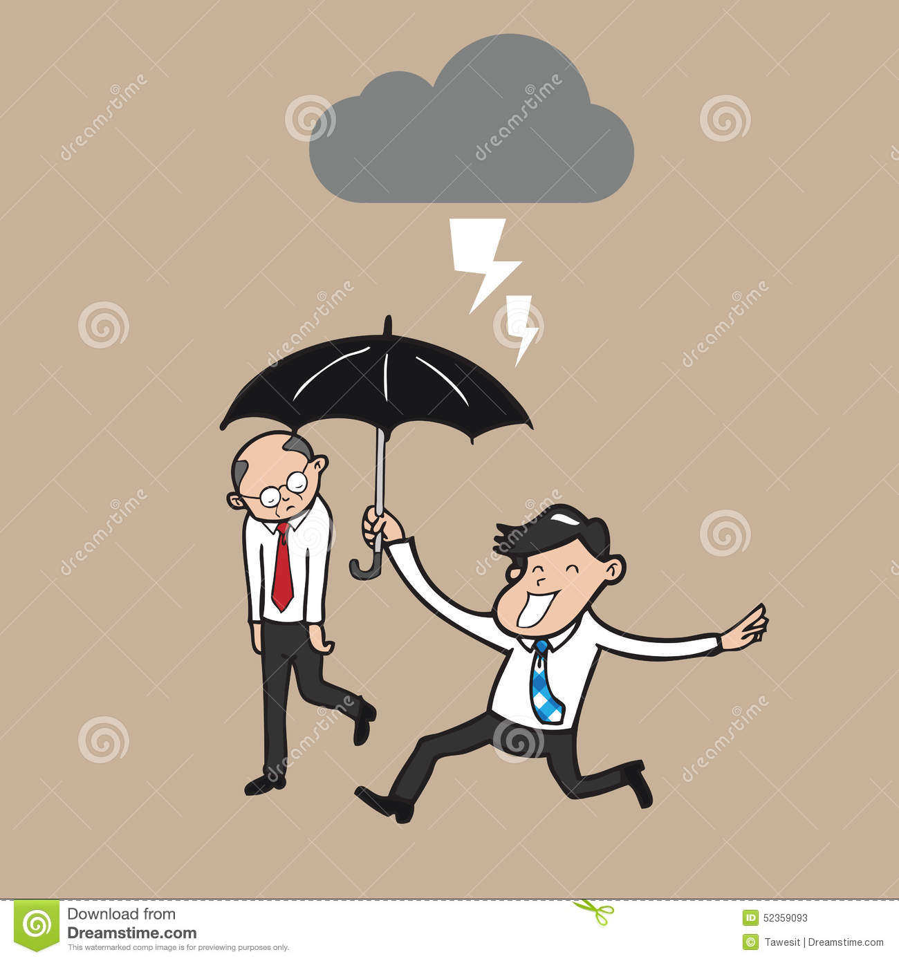 Businessman holding umbrella protect boss from strom