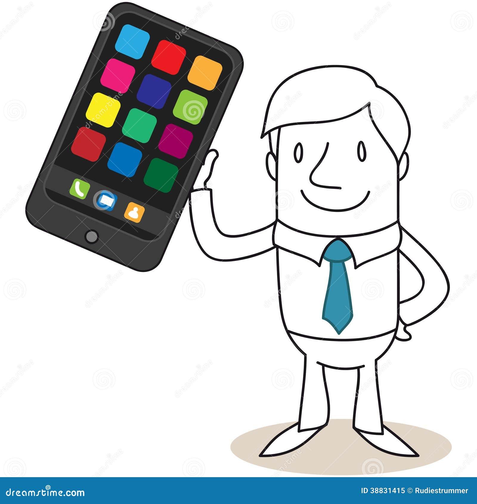 Businessman Holding Up Huge Smartphone Stock Vector
