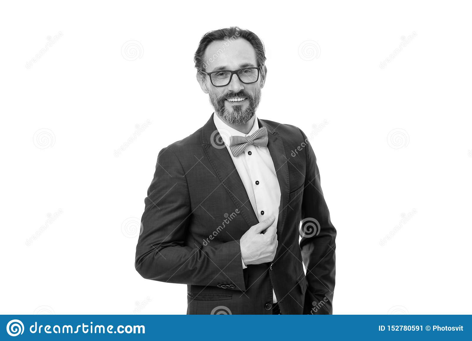 Businessman or host fashionable outfit isolated white. Man bearded hipster wear classic suit outfit. Formal outfit. Take