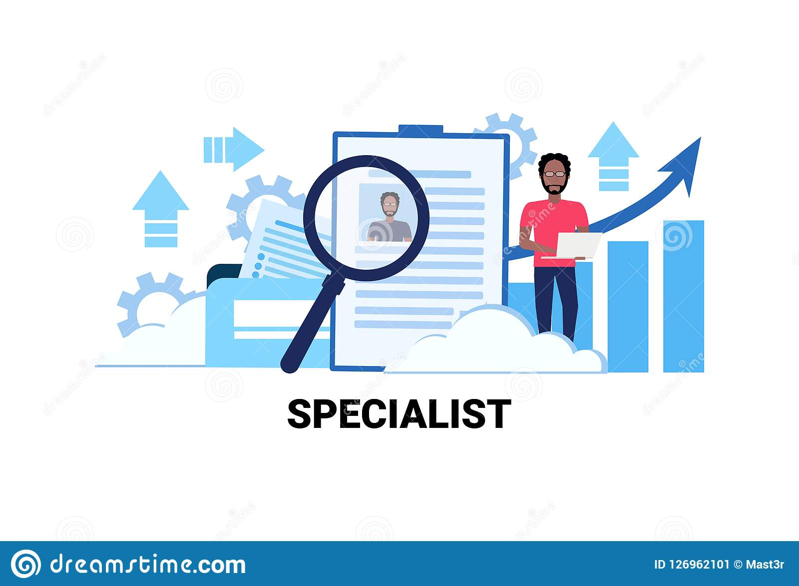 Businessman Hr Using Laptop Searching Resume Specialist Candidate ...