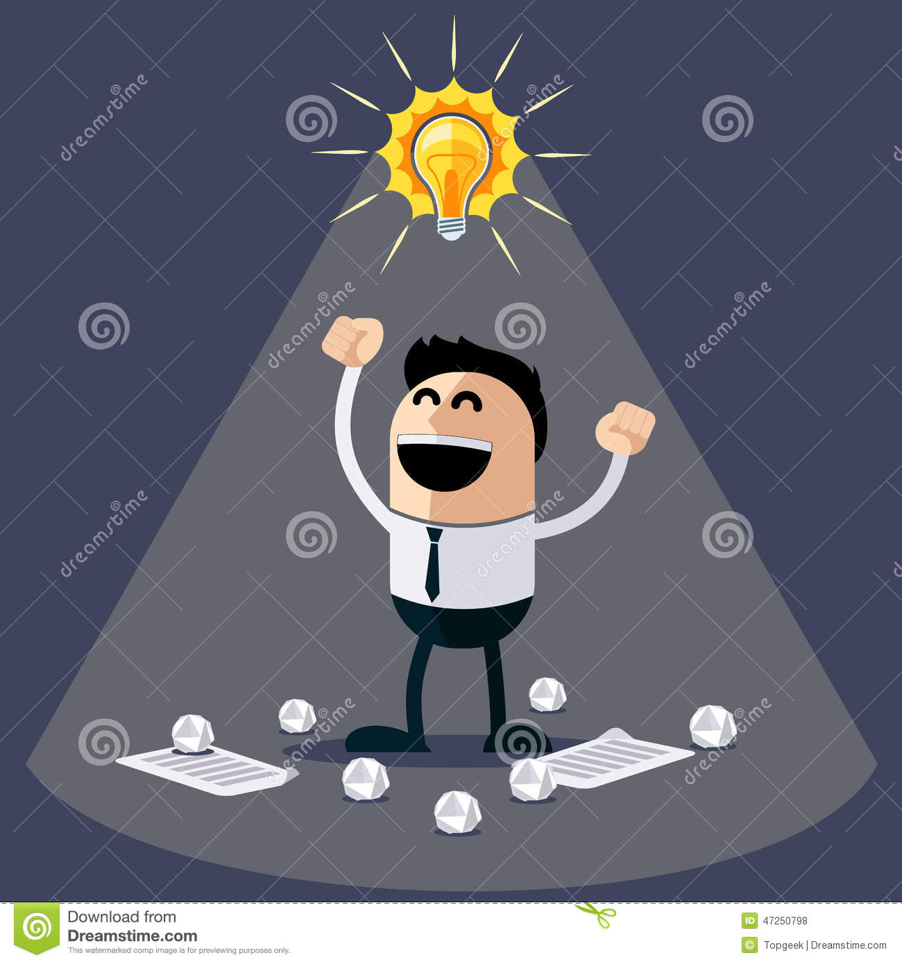 Businessman Ideas Happy Funny Character Cartoon Lightbulb Over His Head Crumpled Sheets Paper Under
