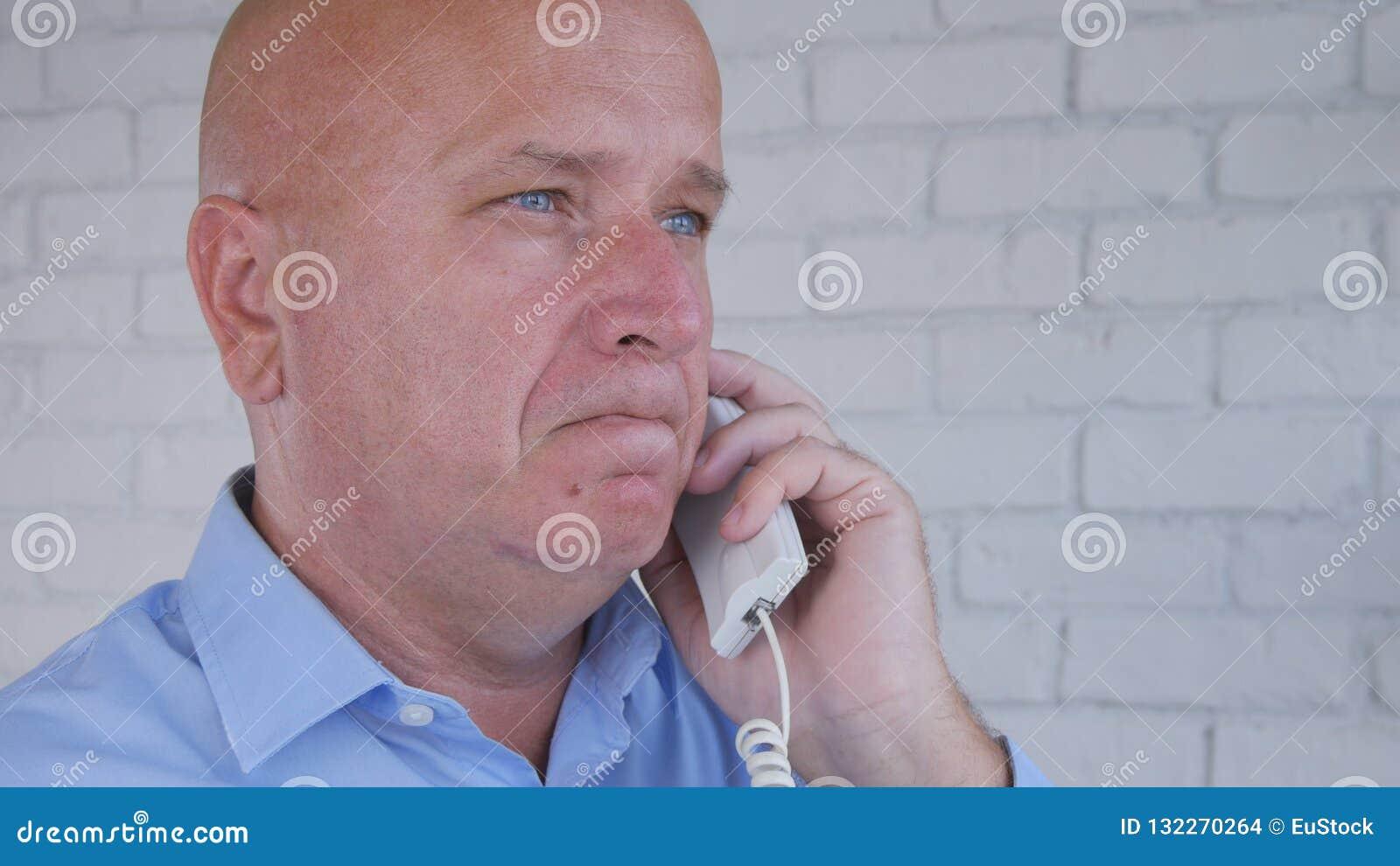 Businessman Image Talk Business Using Telephone Communication