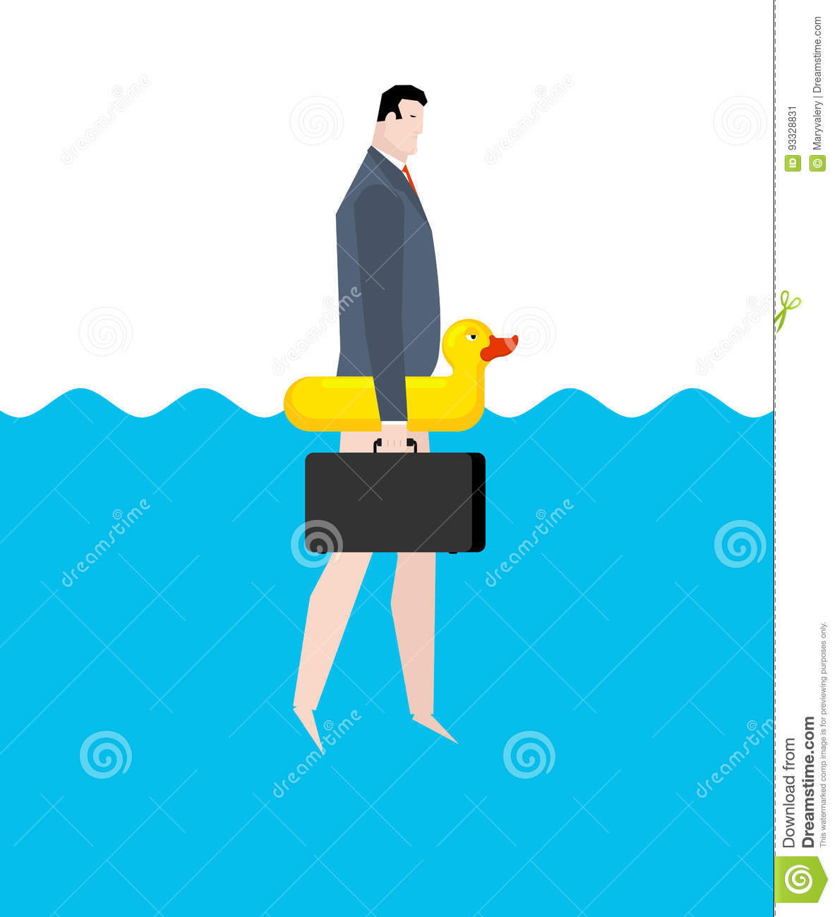 Businessman And Inflatable Duck Manager On Vacation Sea Busine