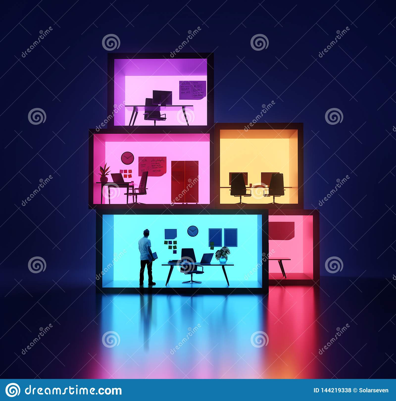 Businessman Inside Stacked Offices
