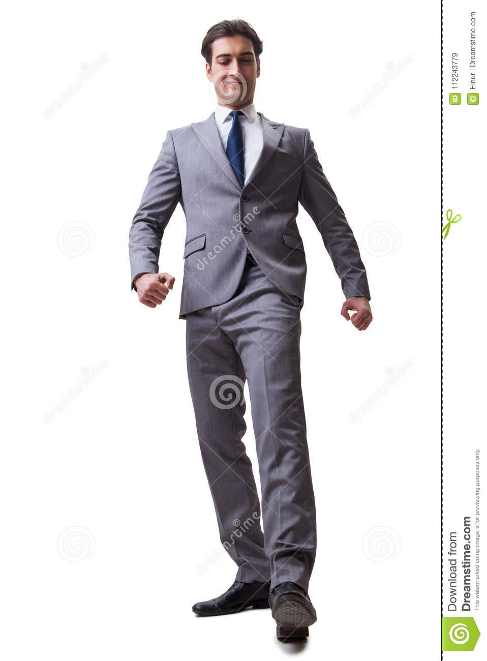 The businessman isolated on the white background