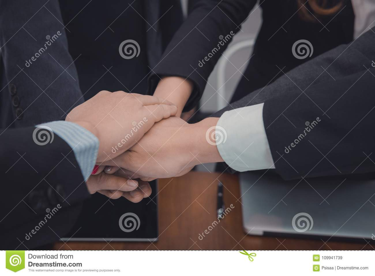 Businessman joining united hand, business team touching ... |Touching Hands Together