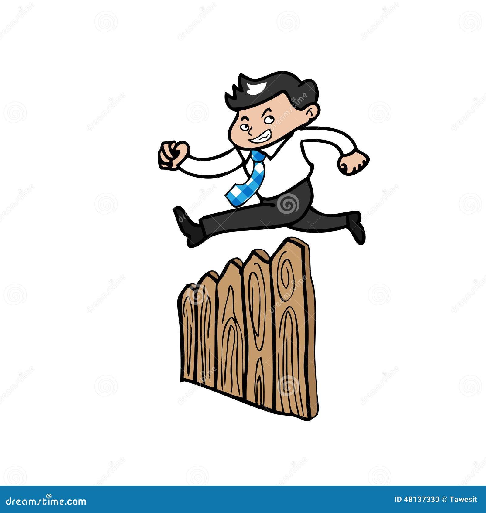... Businessman jump over fence. Cartoon vector vector illustration