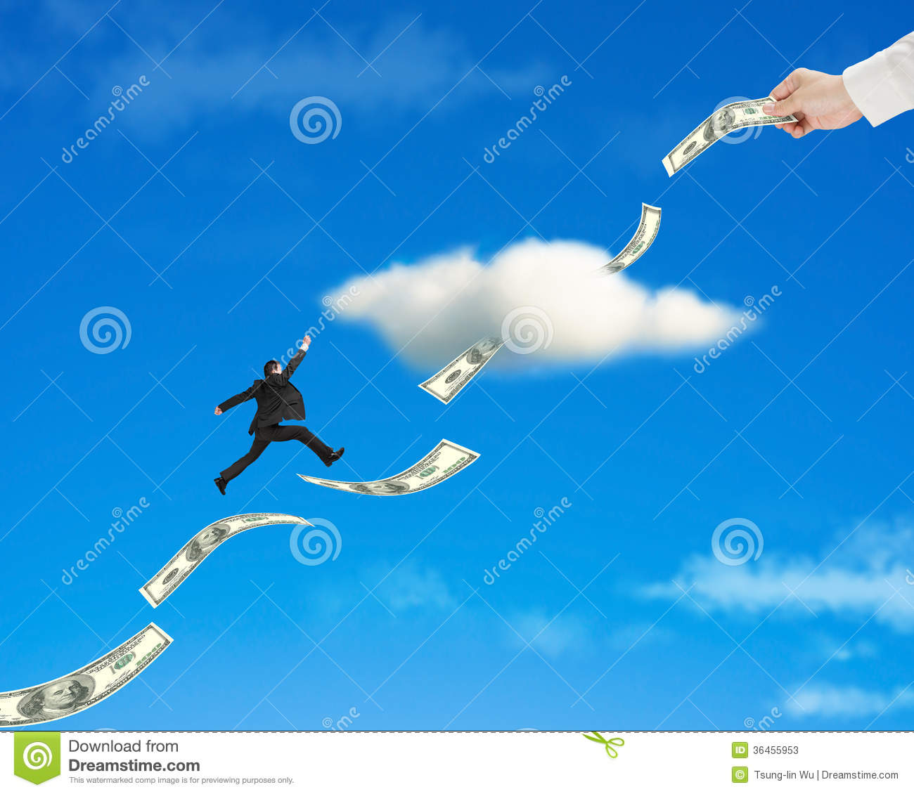 Businessman jumping on money trend through cloud with hand holding