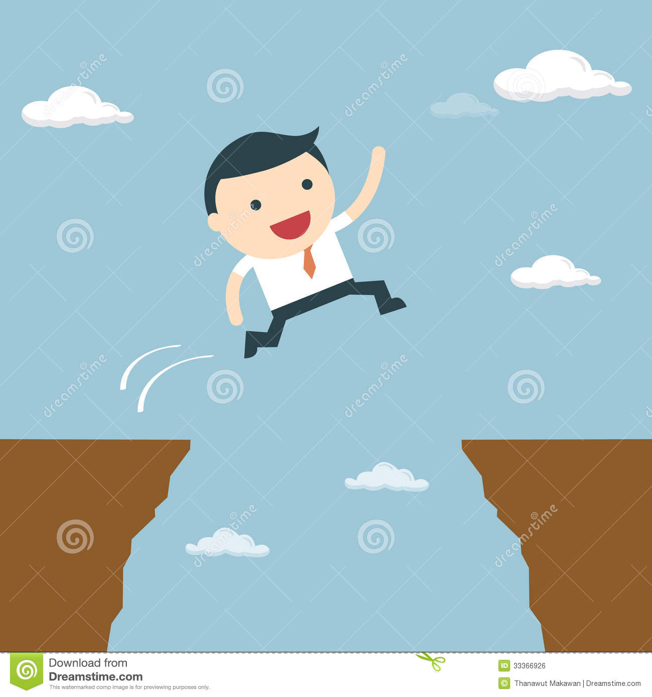 Businessman jumping over the cliff to goal stock vector for Jump the gap