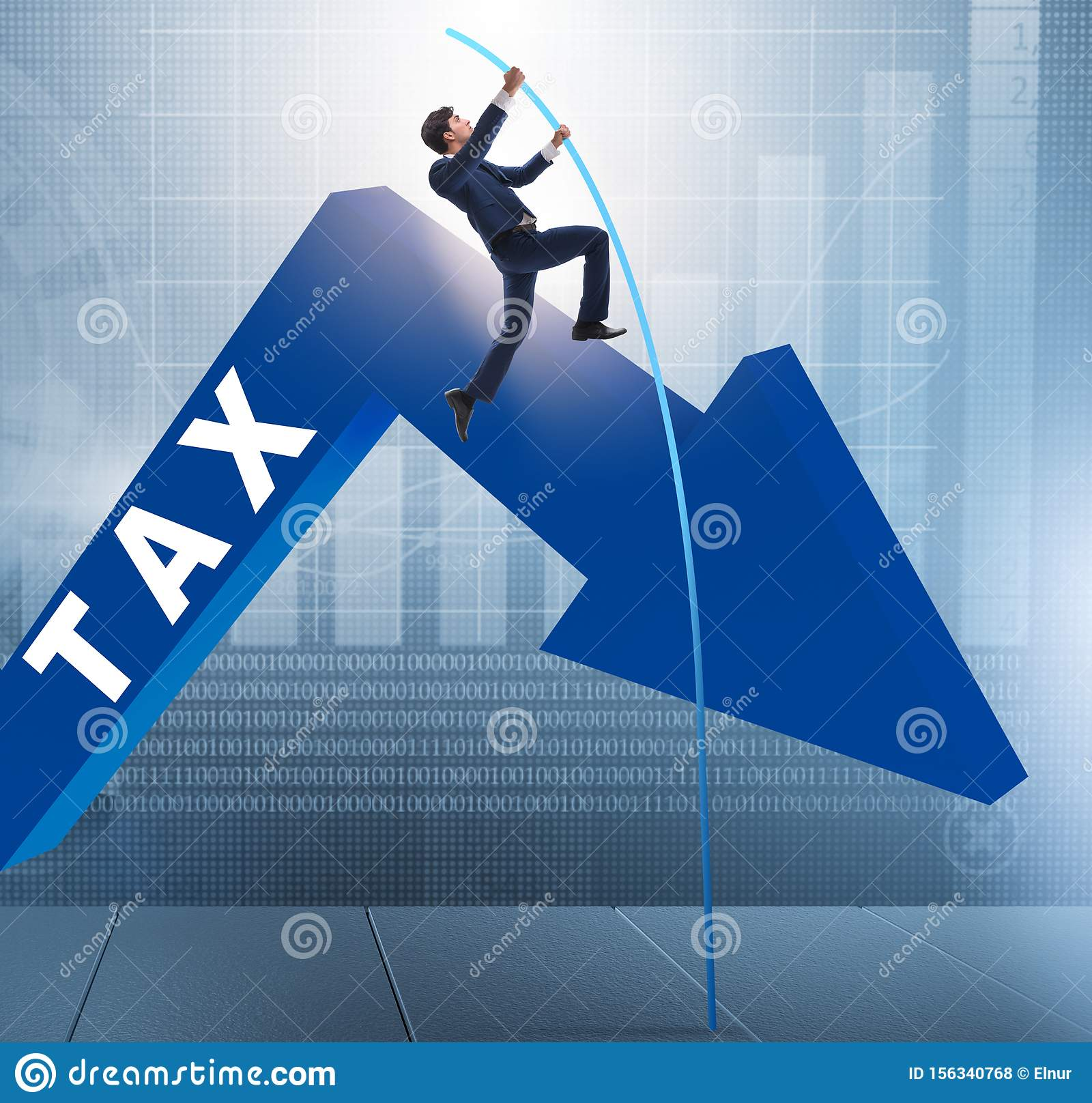 Businessman Jumping Over Tax In Tax Evasion Avoidance Concept Stock Illustration