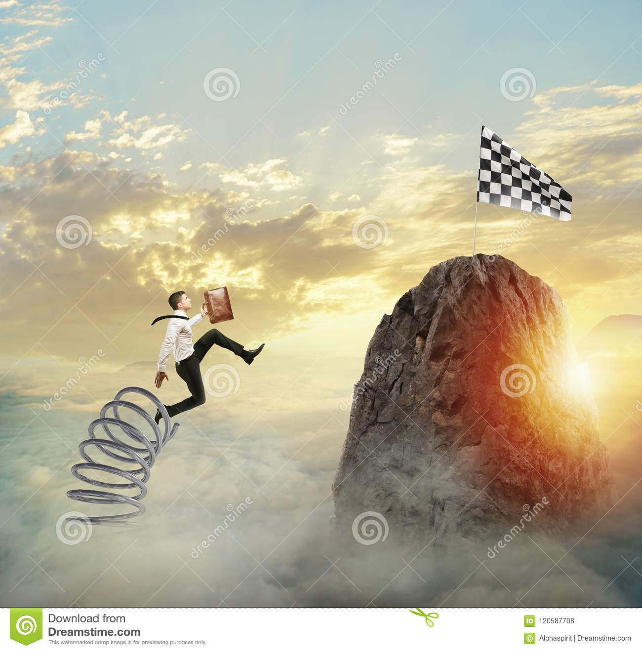 Businessman jumping on a spring to reach the flag. Achievement business goal and Difficult career concept