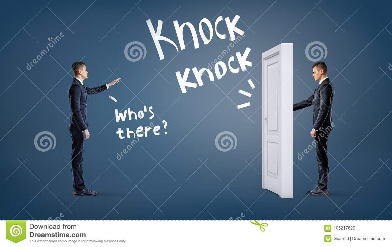 a businessman knocks at a white door on a blue background with another man asking him to name himself unexpected business situations business partnership