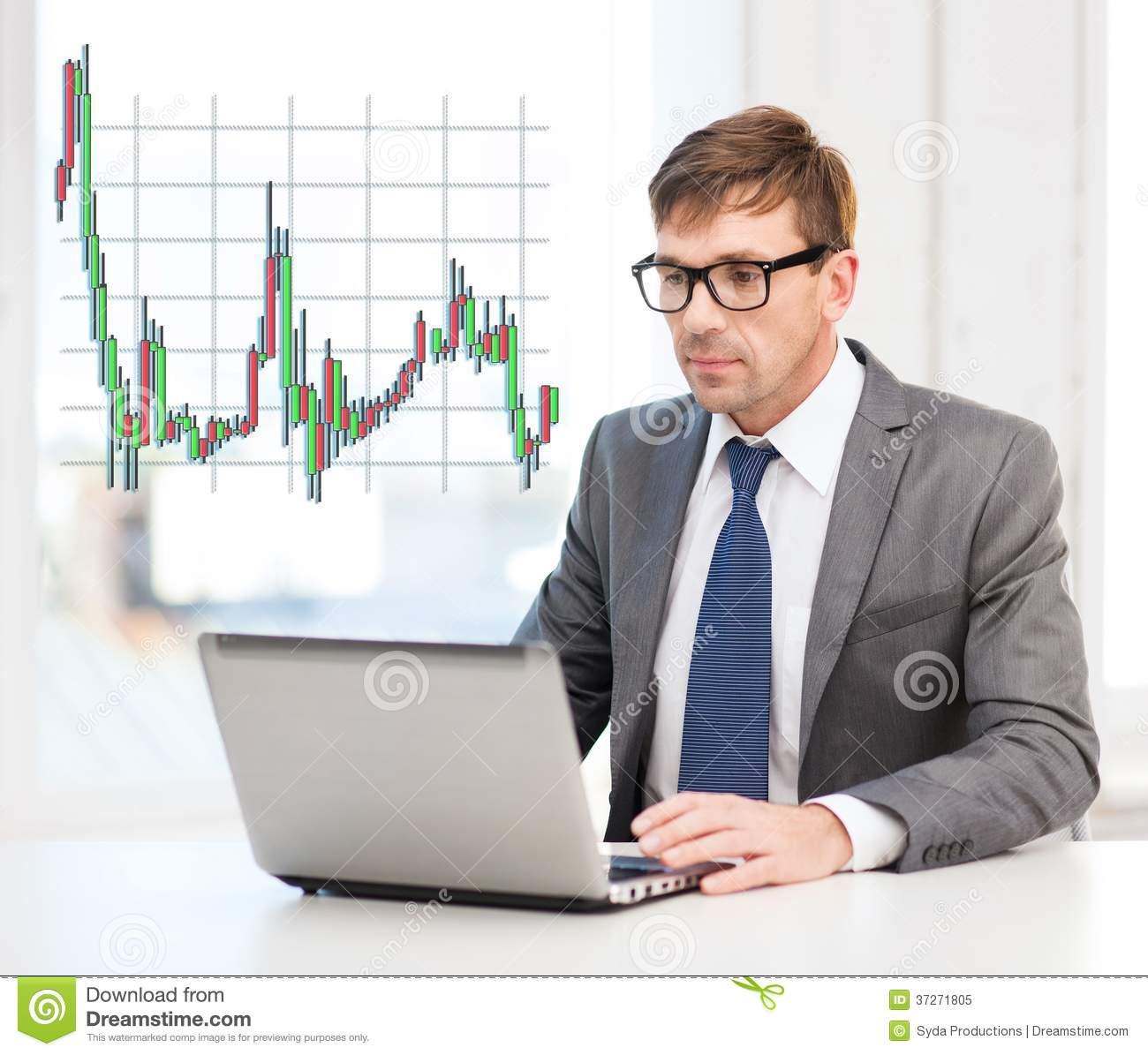Businessman With Laptop Computer And Forex Chart Royalty ...