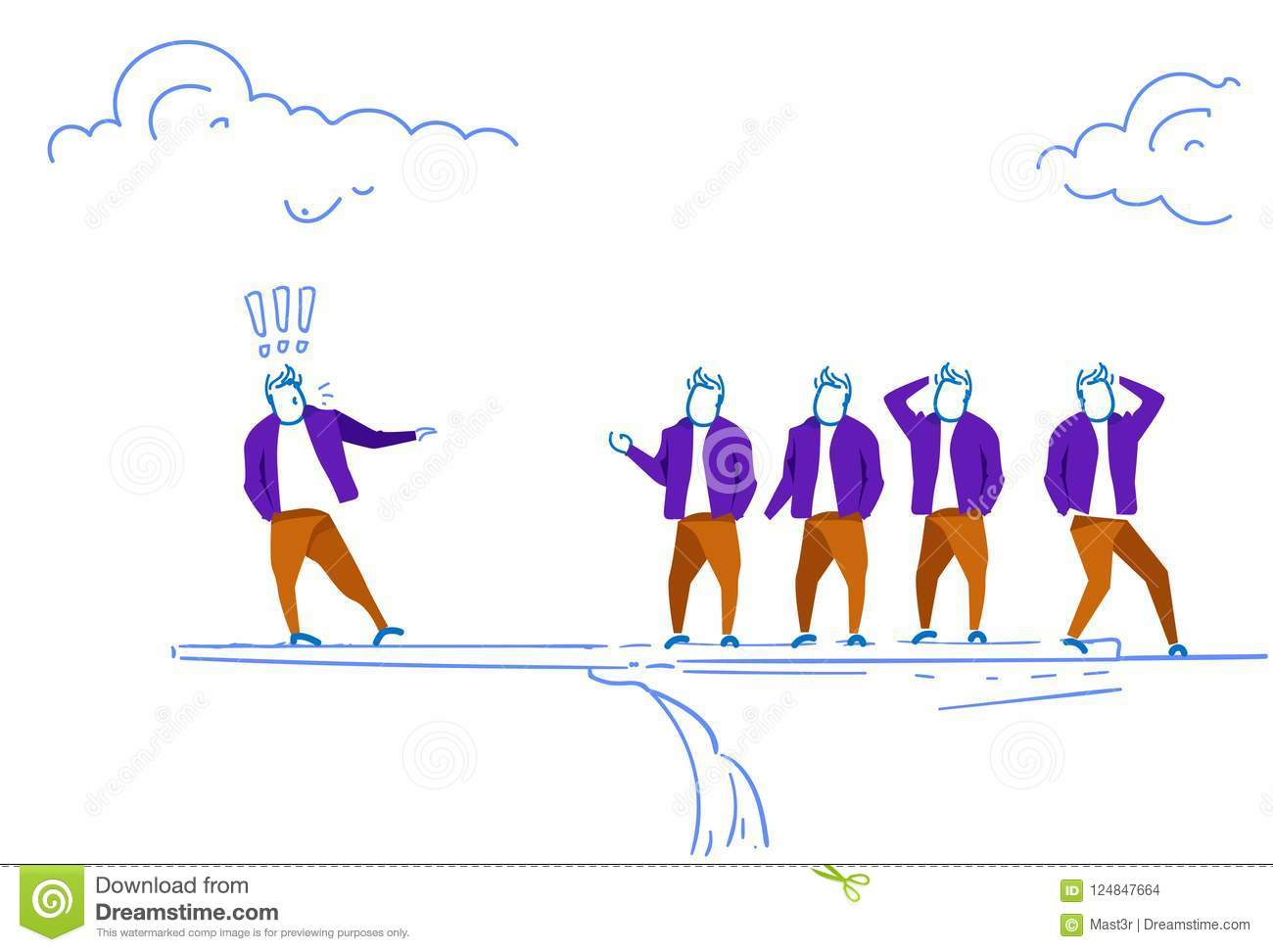 Businessman leader staying edge cliff exclamation marks doing advertisement business team brainstorming concept sketch