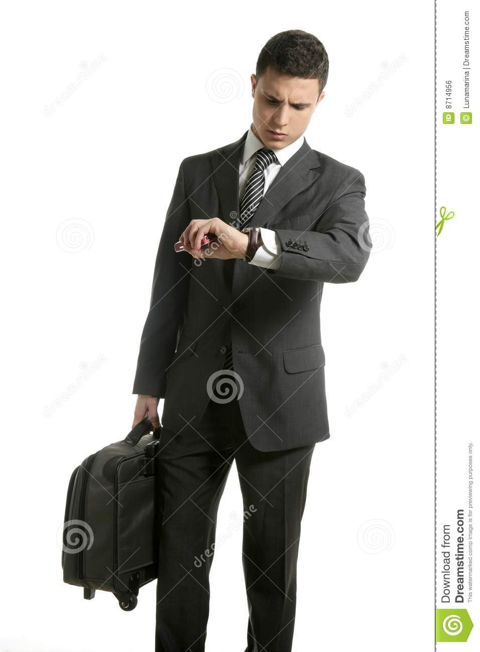 More similar stock images of ` Businessman look his watch with handbag ...