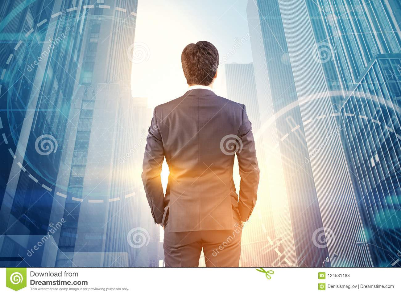 Businessman looking at city, hud and network