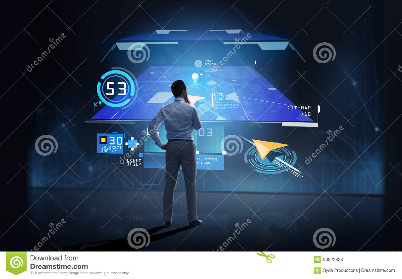 Businessman Looking At Gps Navigator Map Over Dark Stock Photo - Image of  looking, application: 90922828