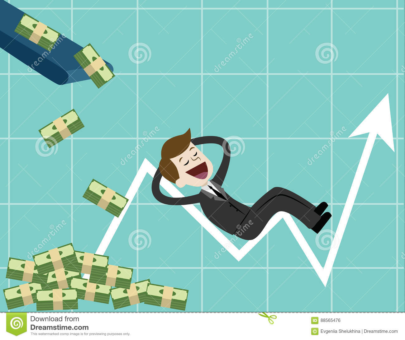 Businessman Looking For Growth Chart Money And Pointing Finger To