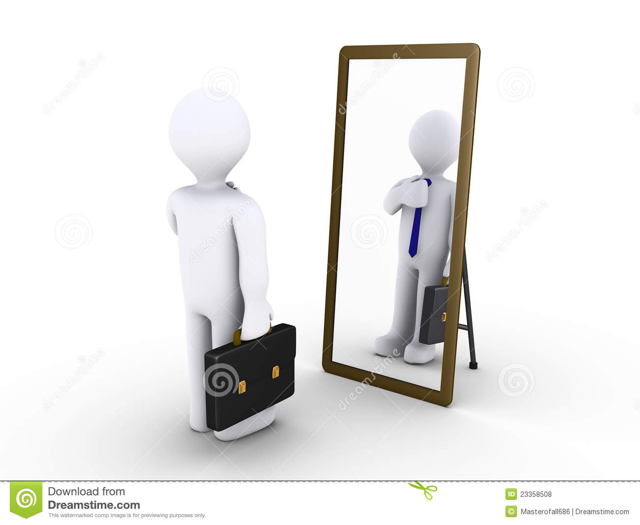 Businessman looking in the mirror stock illustration for Looking for mirrors