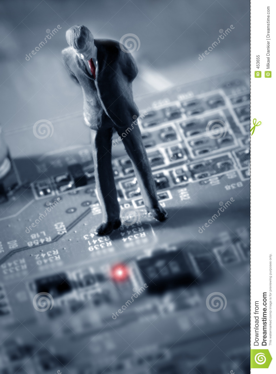 Businessman looking at a Red light