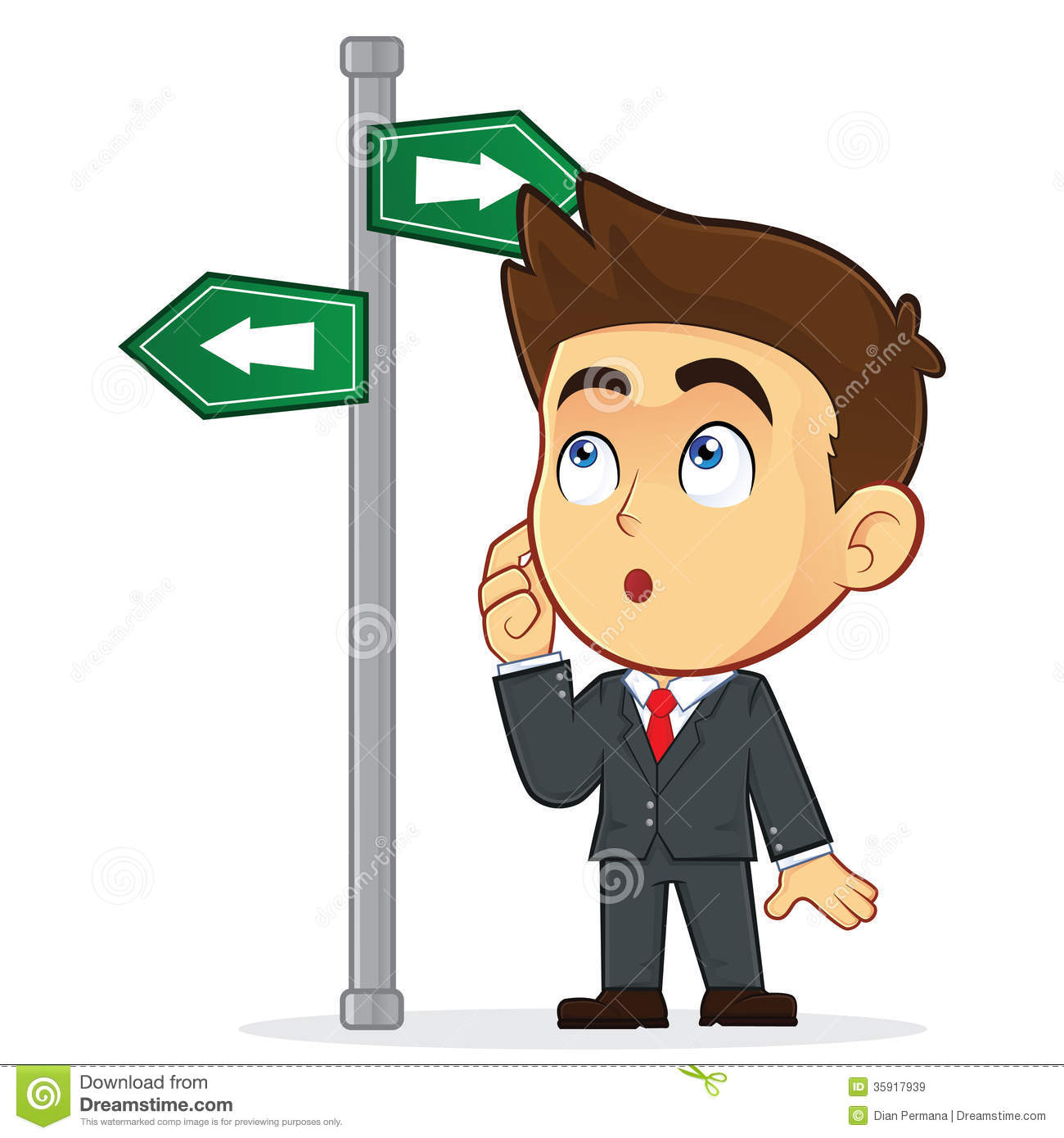 Businessman Looking at a Sign That Points in Many