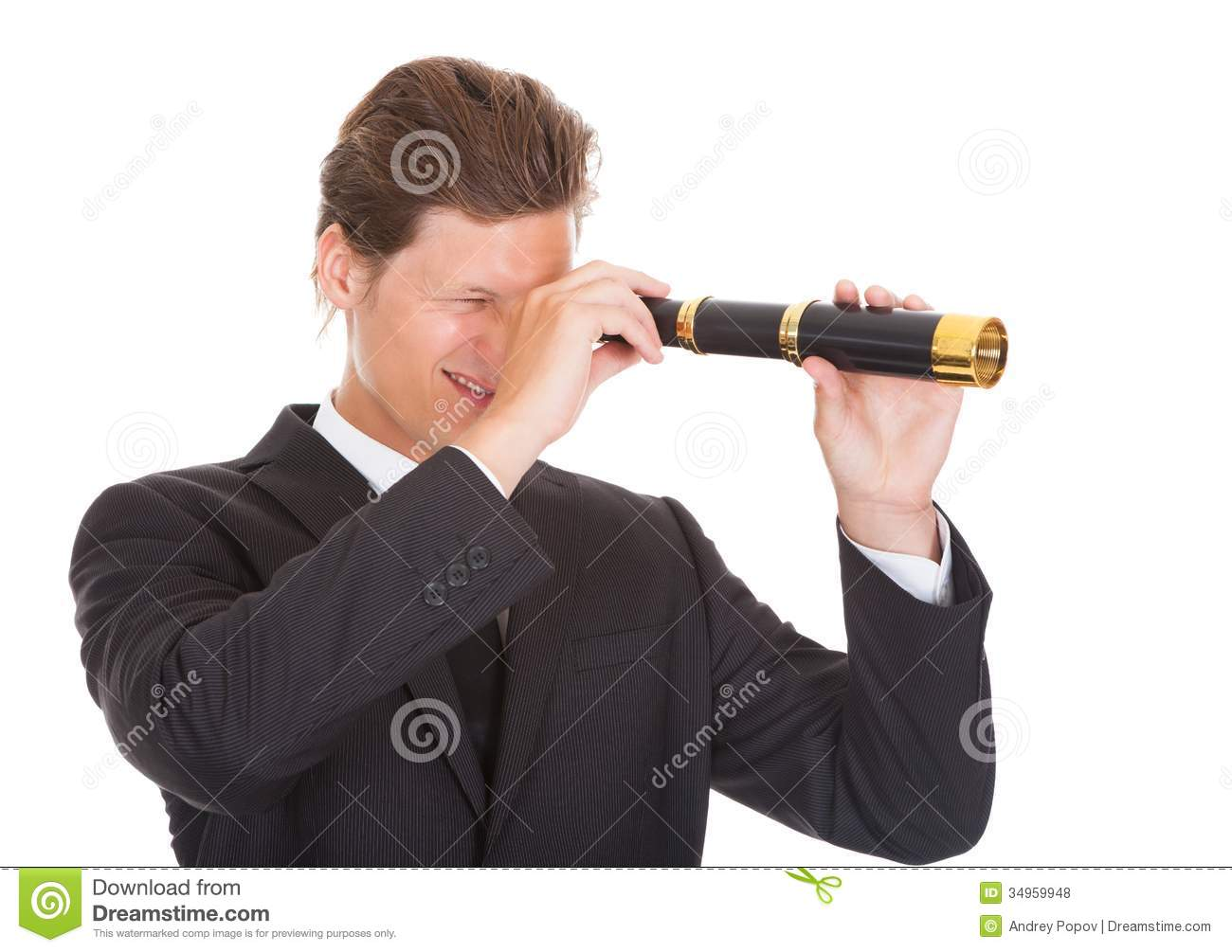 Businessman Looking Through Telescope Royalty Free Stock ...