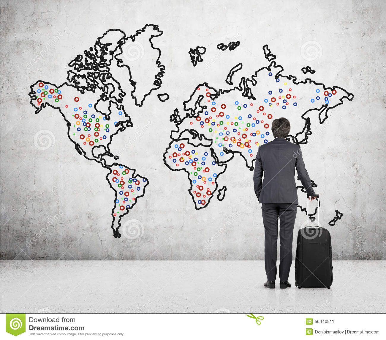 Businessman looking on world map stock image image of businessman download comp gumiabroncs Gallery