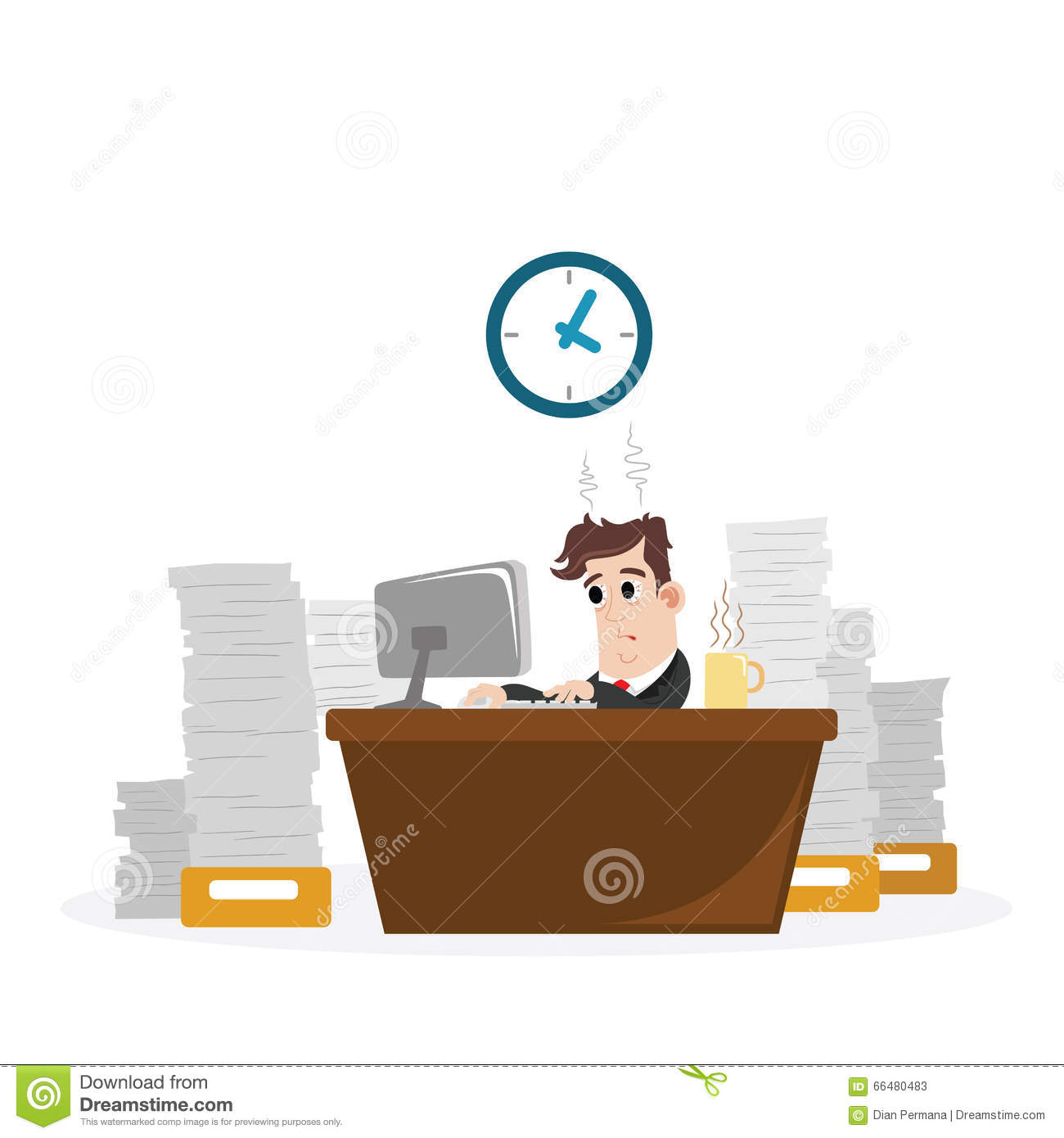 Businessman With A Lot Of Work Stock Vector Illustration