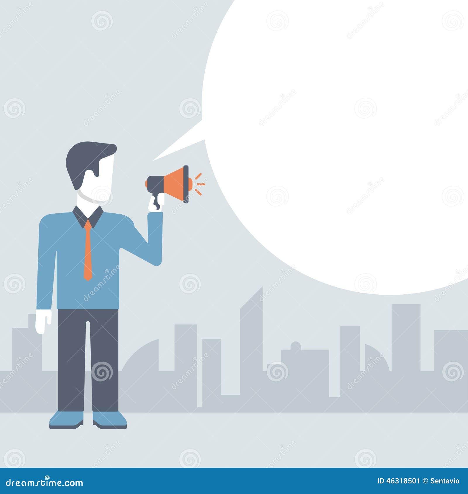 Businessman loudspeaker promotion concept comic flat template