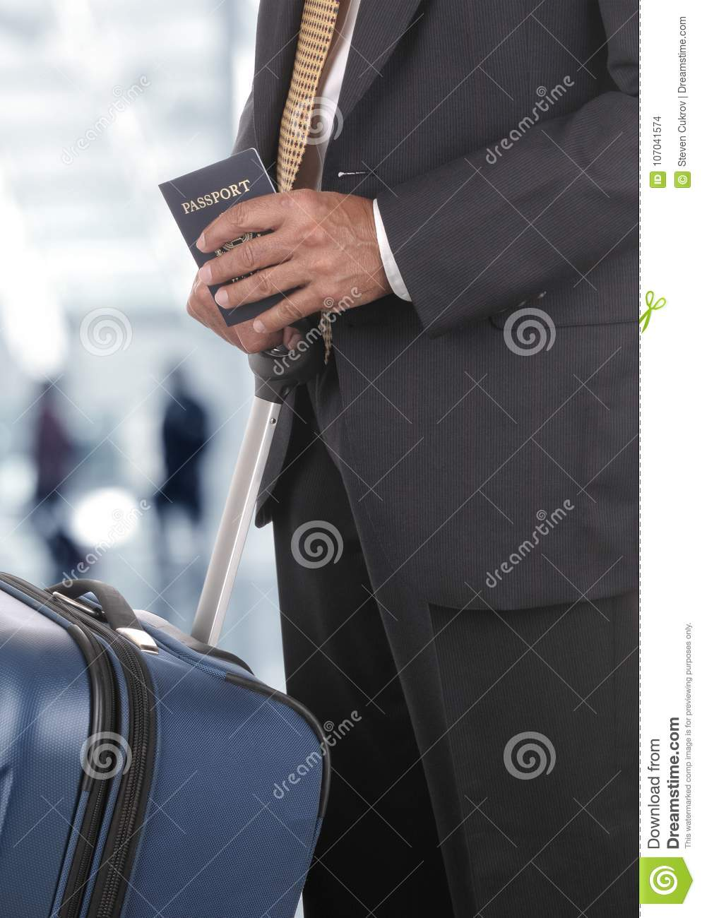 businessman luggage passport blurred travelers in airport concou