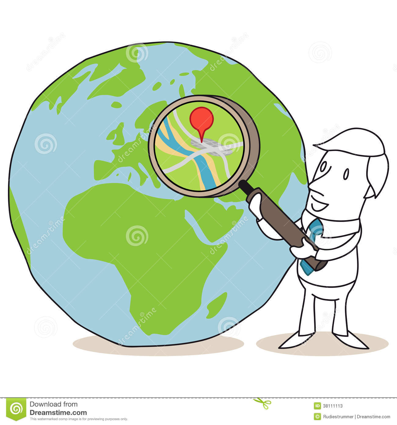 Animation Character Design Spot : Businessman with magnifying glass and globe stock photos