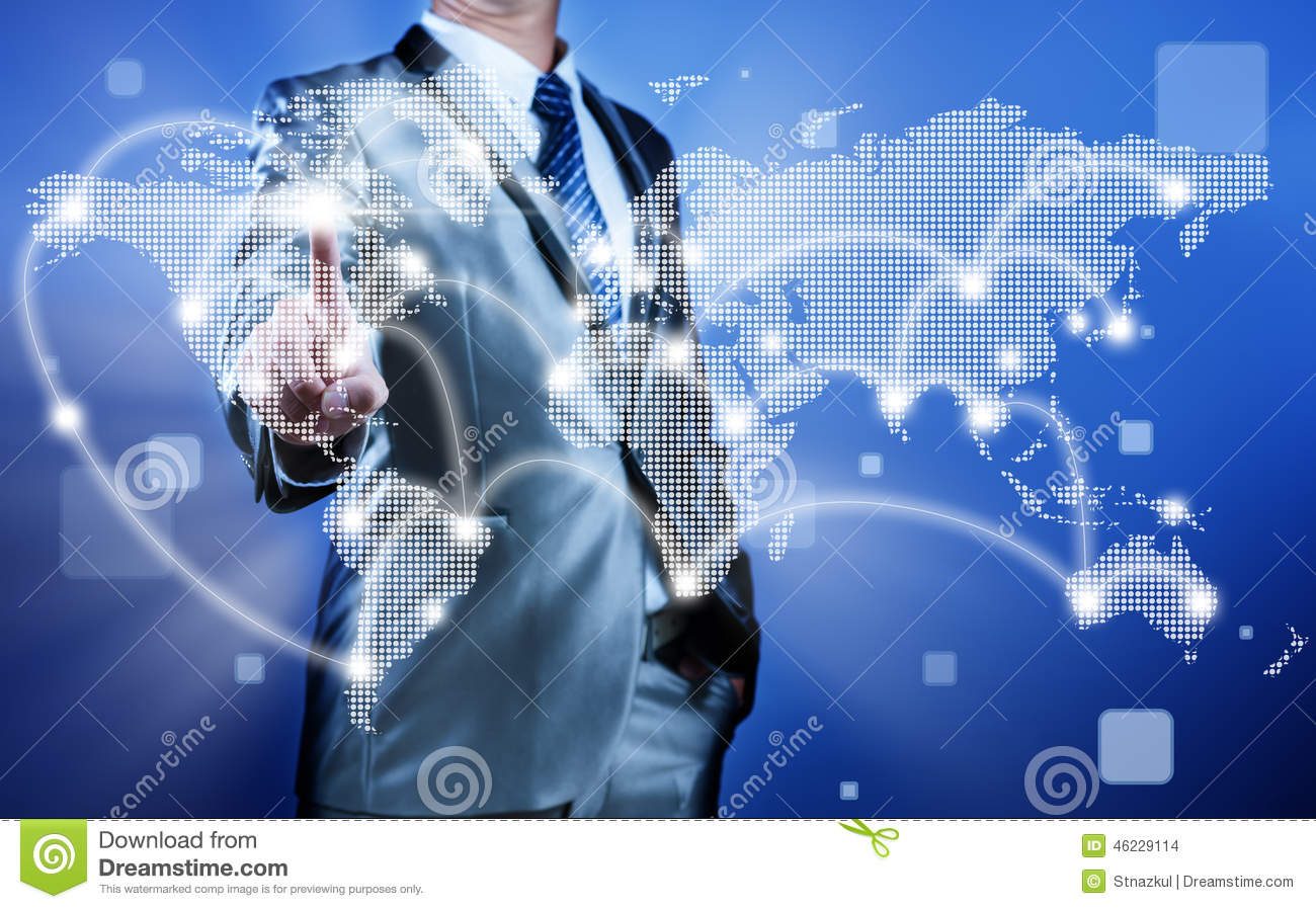 Businessman making decision on business strategy, globalization