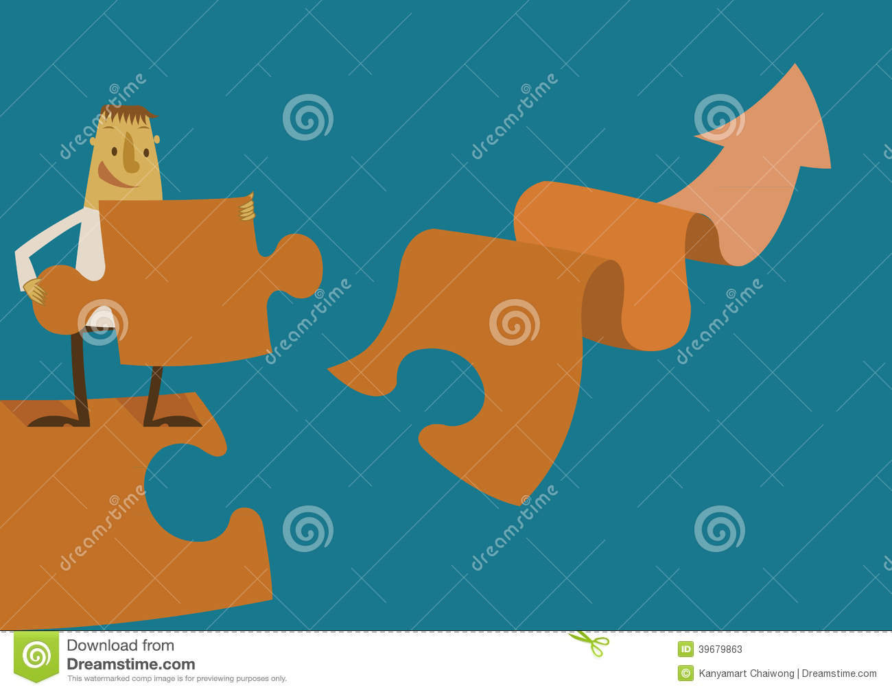 Businessman Making A Puzzle On The Graph Stock Vector