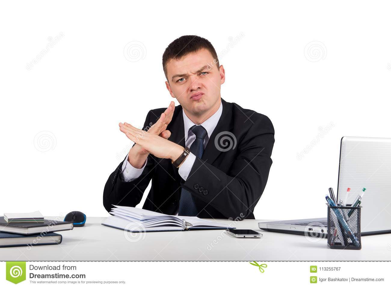 Businessman making X sign isolated on white background.businessman making NO gesture