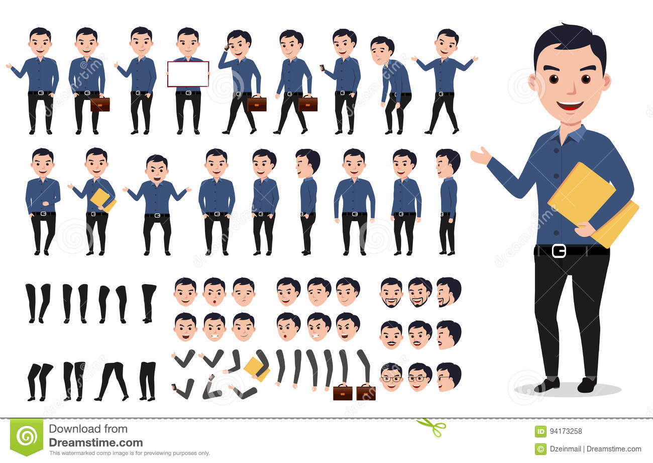 Businessman Or Male Vector Character Creation Set