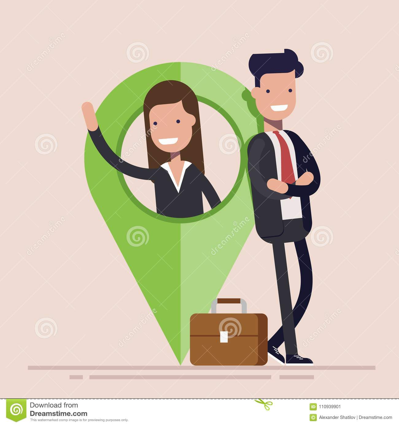 Businessman or manager, man and woman with map pointer. Business location. Flat vector illustration.