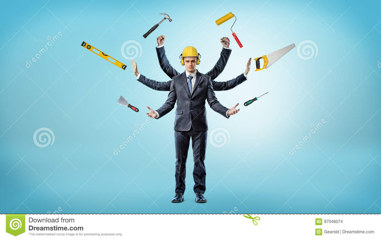 A businessman with many hands that wears a hardhat surrounded by construction instruments.