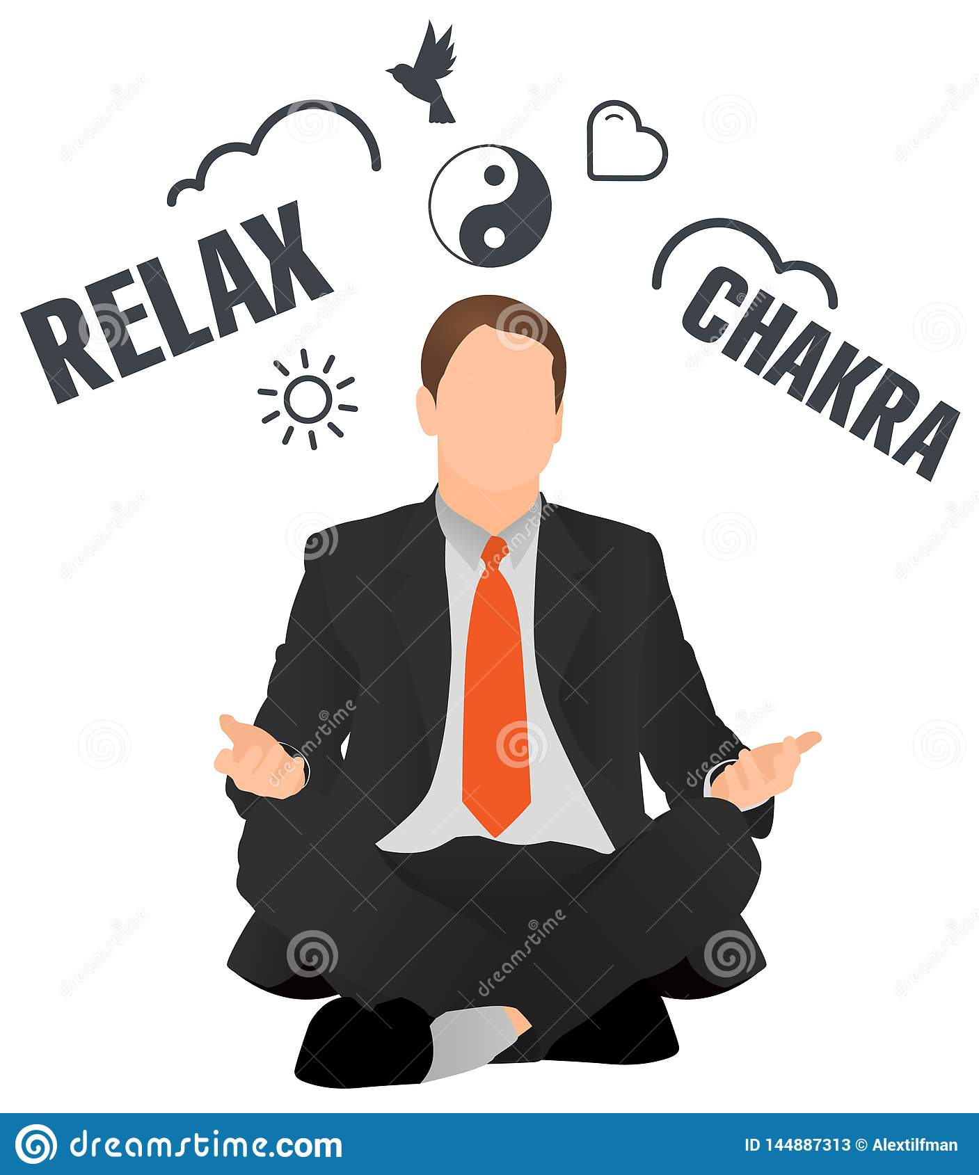 Isolated vector businessman meditating and relaxing. Peaceful worker sitting in lotus pose. Man doing choose. Manager doing yoga a