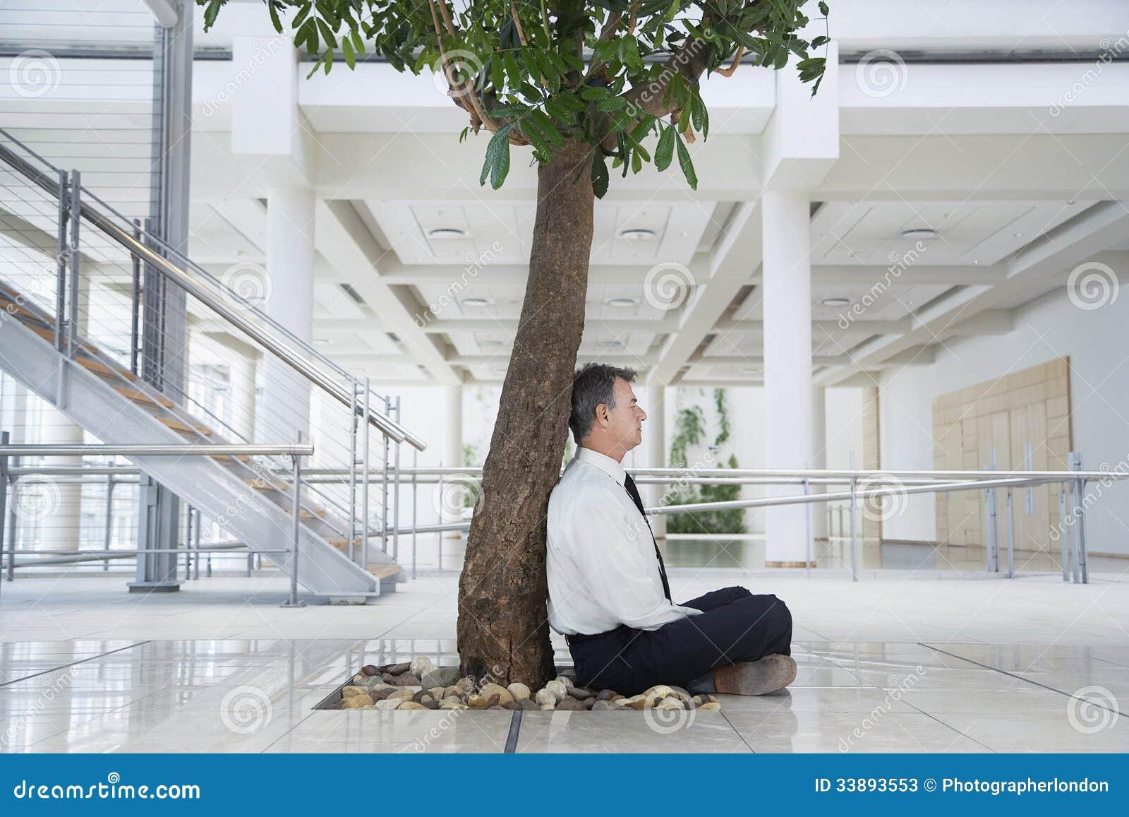 meditation businessman office. Businessman Meditating Under Tree In Office Meditation I