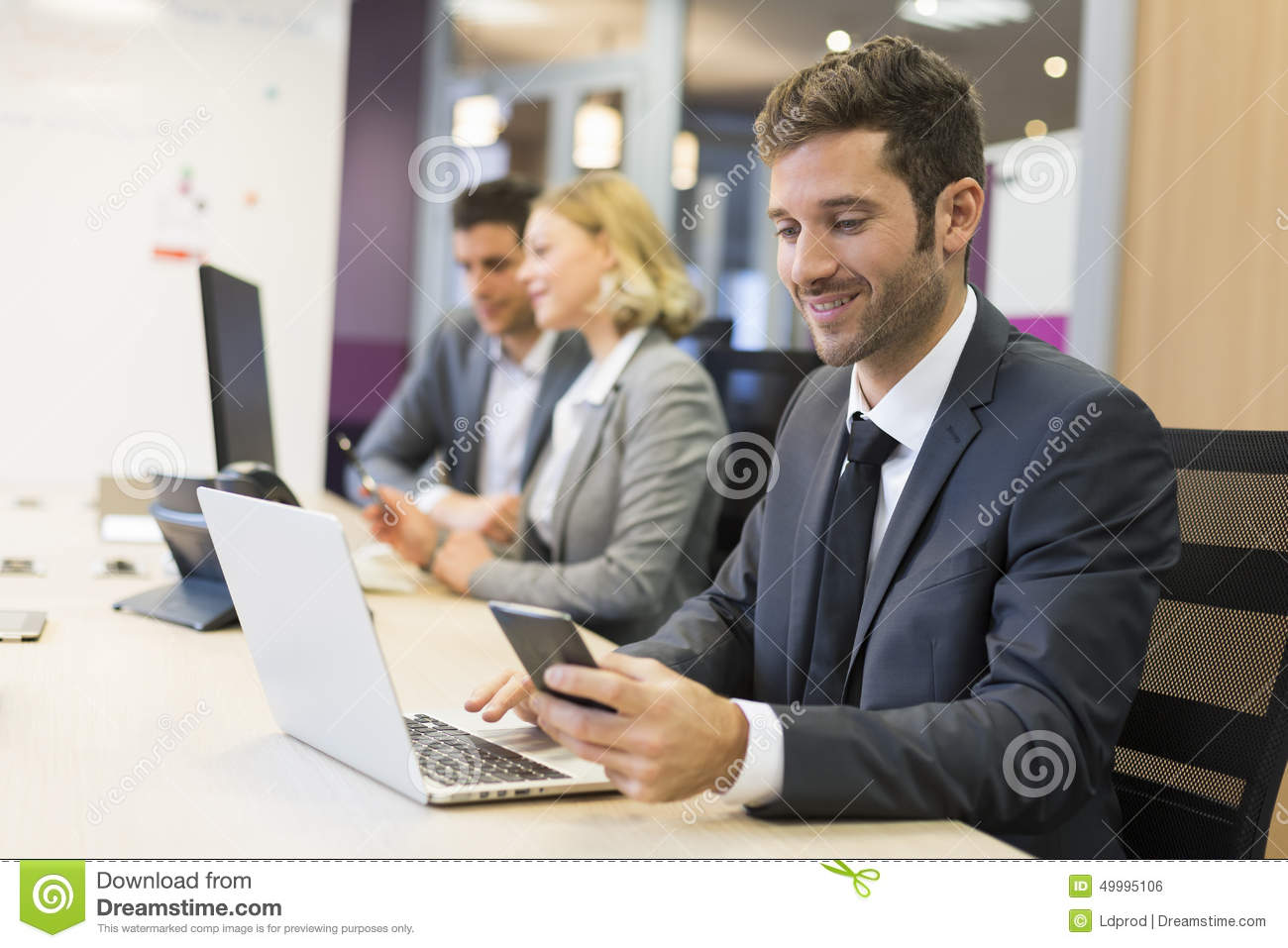 Businessman On Mobile Phone In Office, Sms, Message Stock Photo - Image of businesswoman, firm