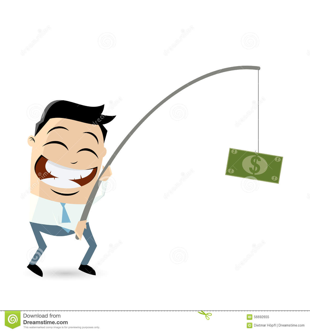 Businessman with money on fishing rod stock vector image for Fish for cash