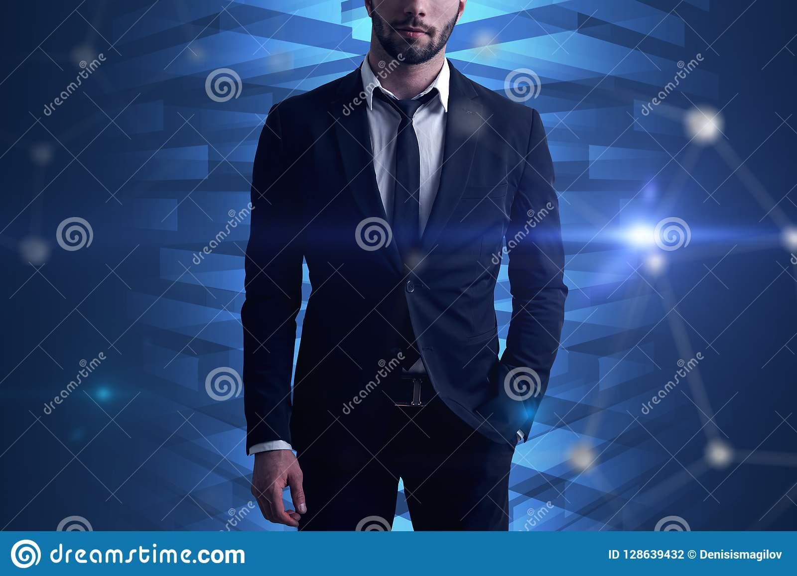 Businessman network and graphs, blue interface
