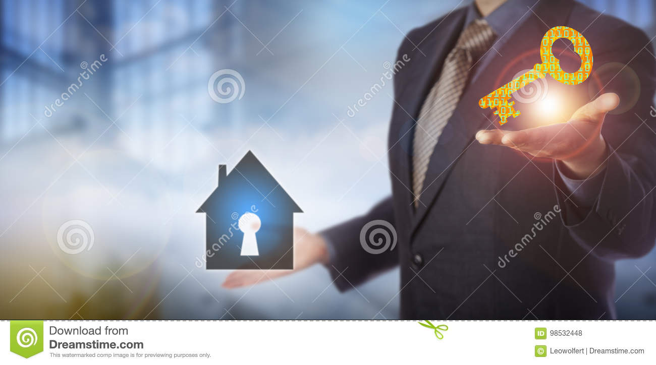 Businessman Offering Home Security Solution