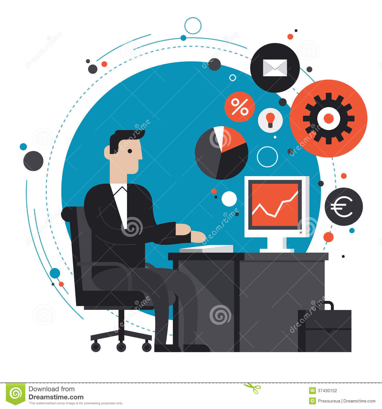 Businessman In The Office Flat Illustration Stock
