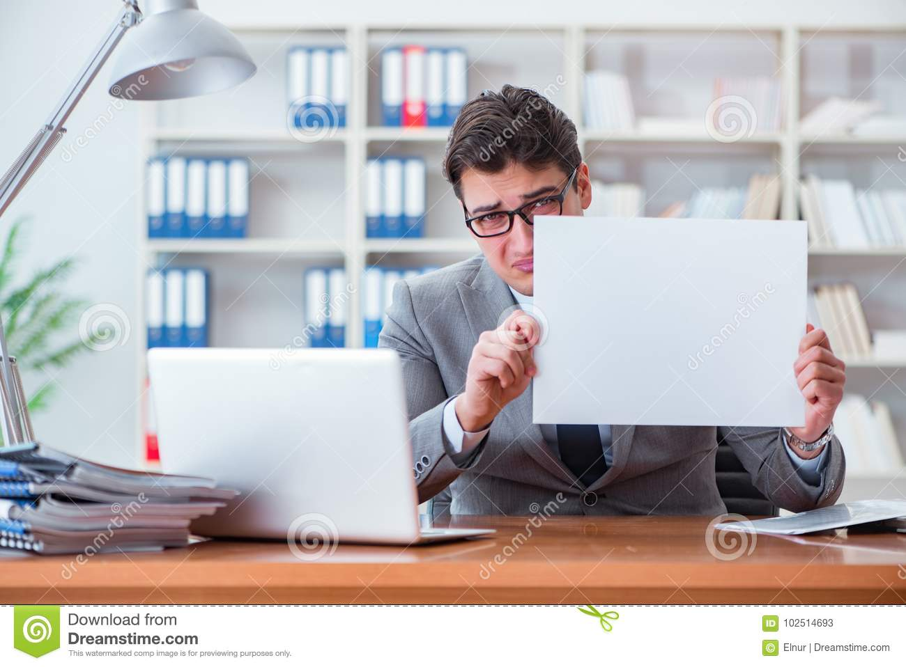 Download The Businessman In Office Holding A Blank Message Board Stock  Image   Image Of Frustrated