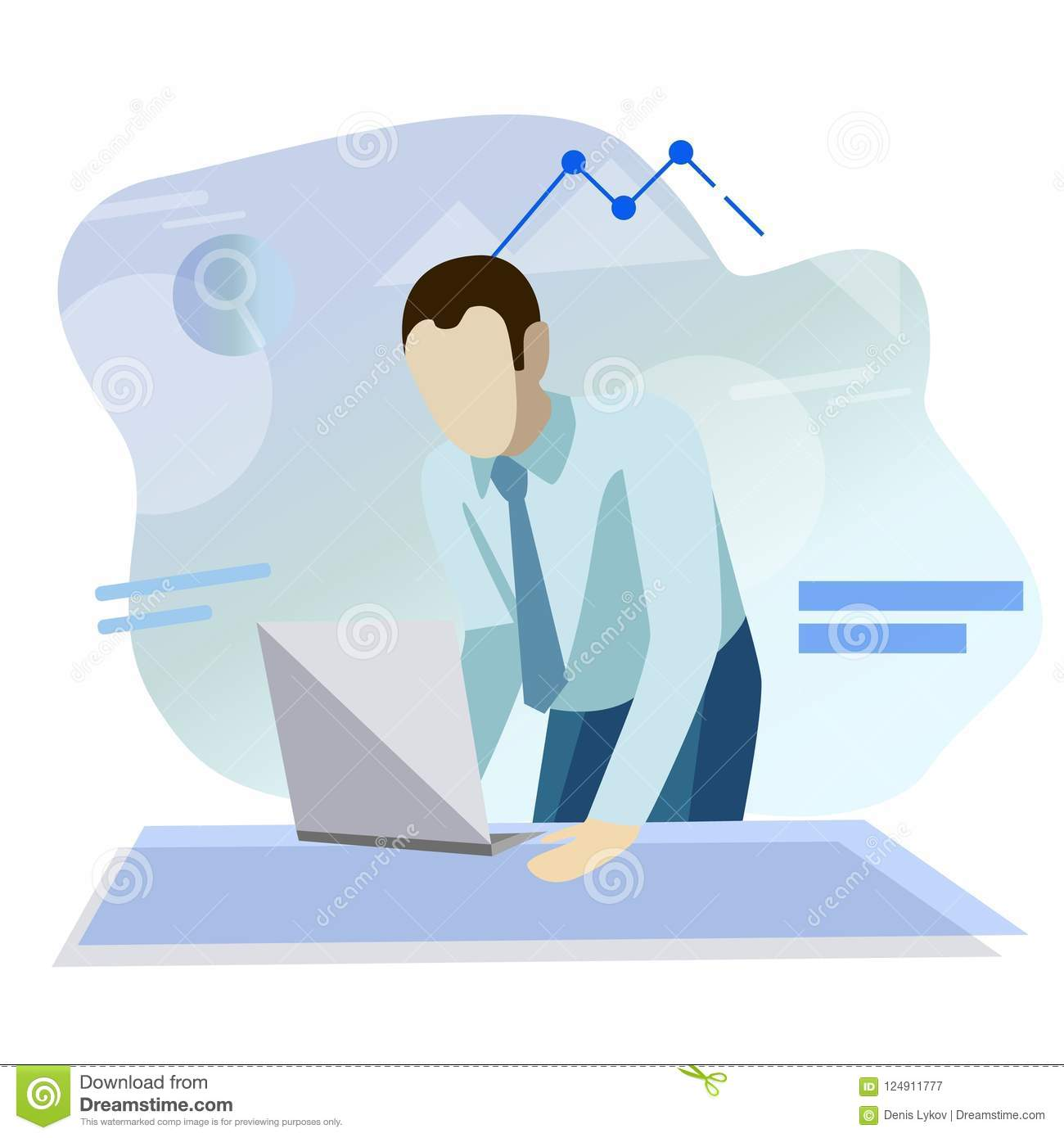 Businessman. Office worker. Flat simple design. Vector. Office workplace with table