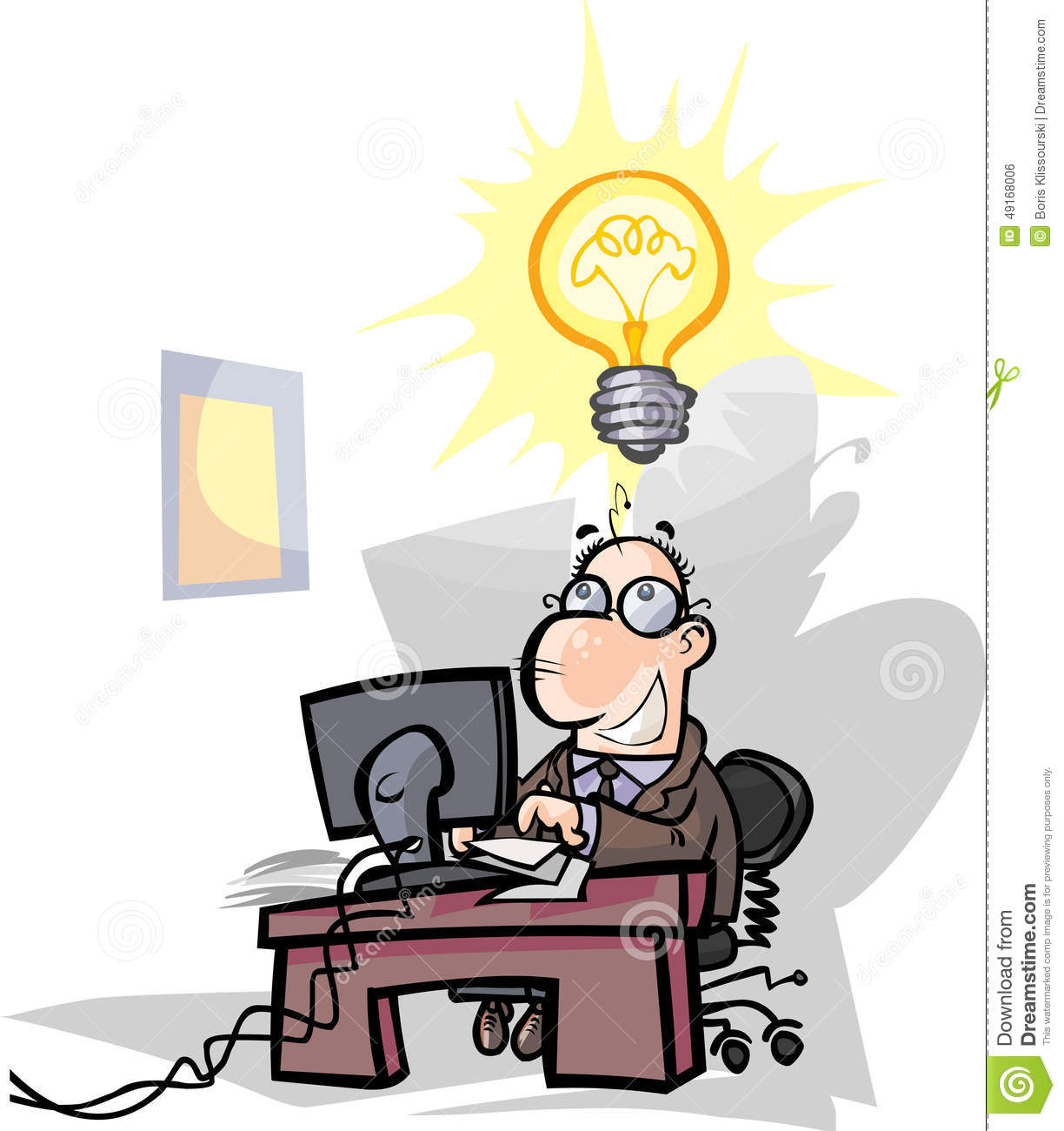 businessman office worker have a good idea stock vector image businessman office worker have a good idea
