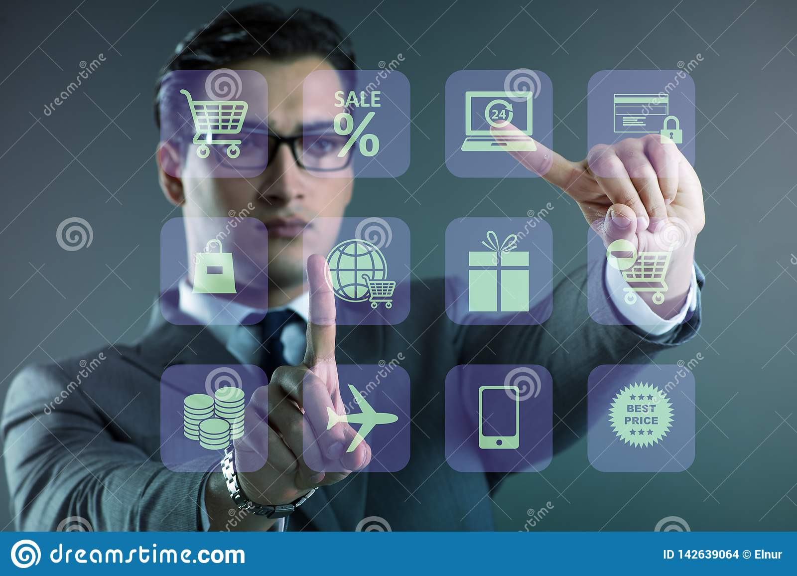The businessman in online trading and shopping concept