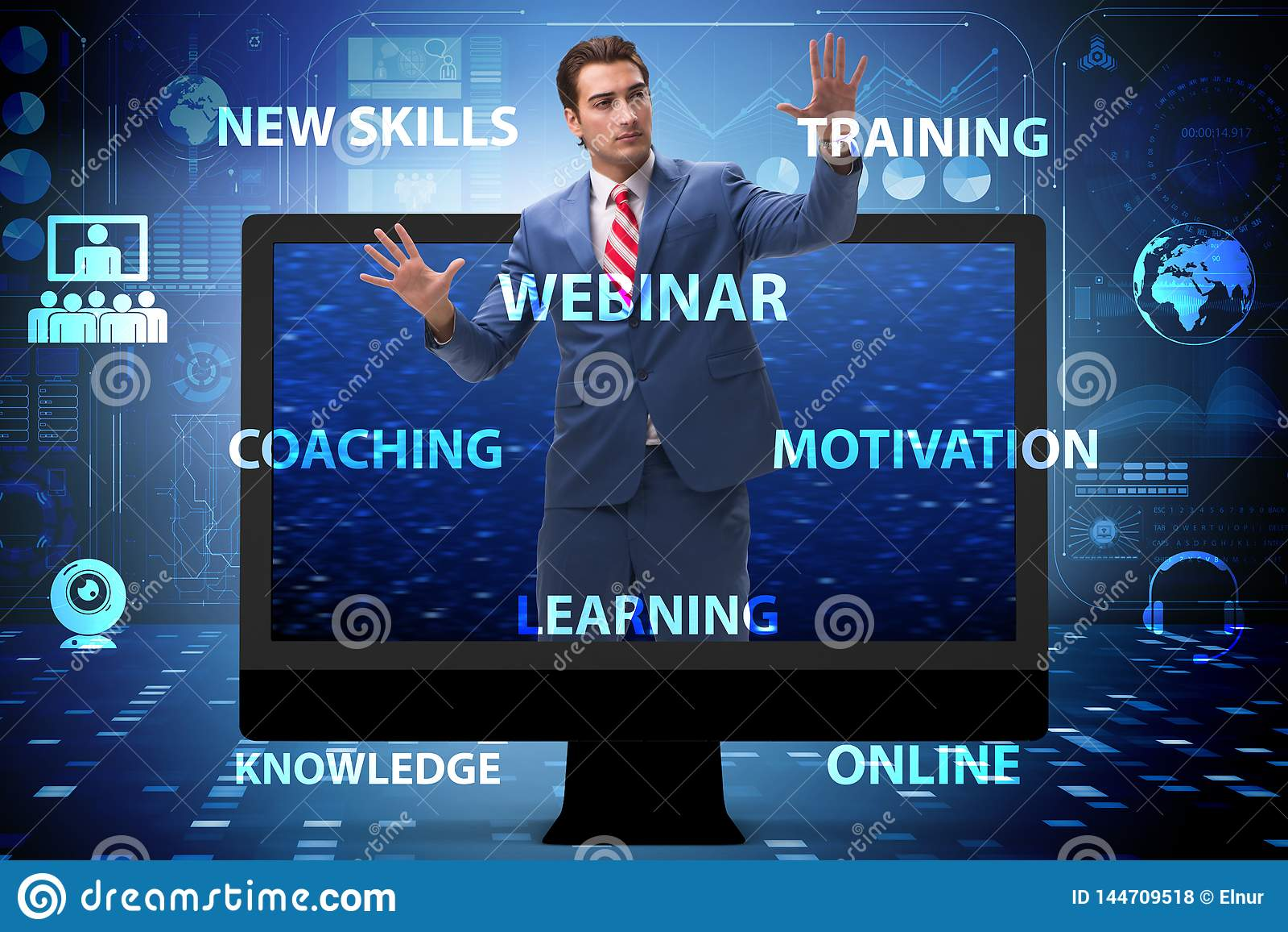 The businessman in online webinar concept