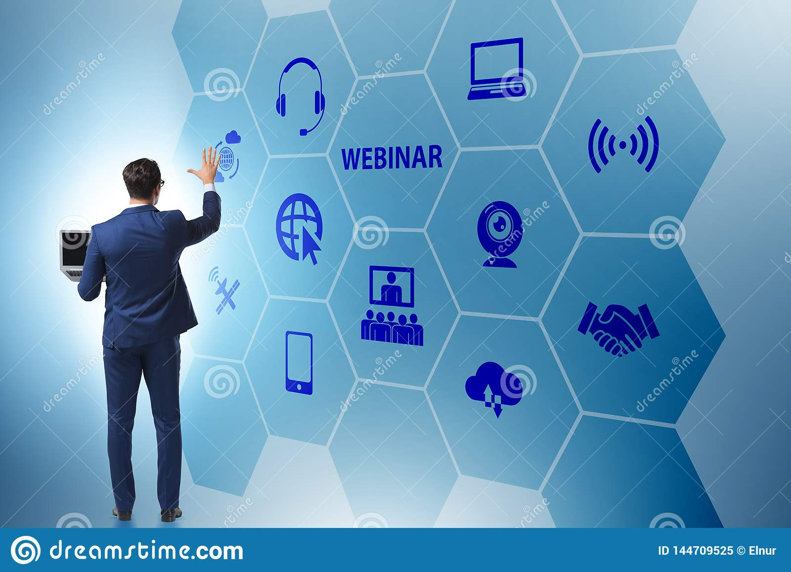The businessman in online webinar concept